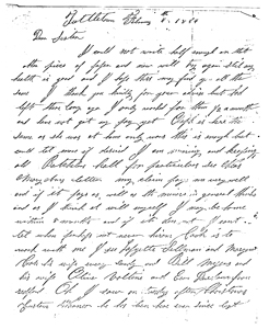Letter from G. W. Seger, 1854