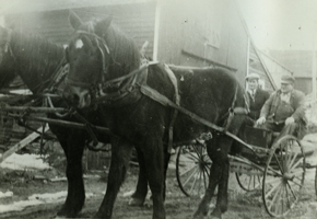 men in wagon